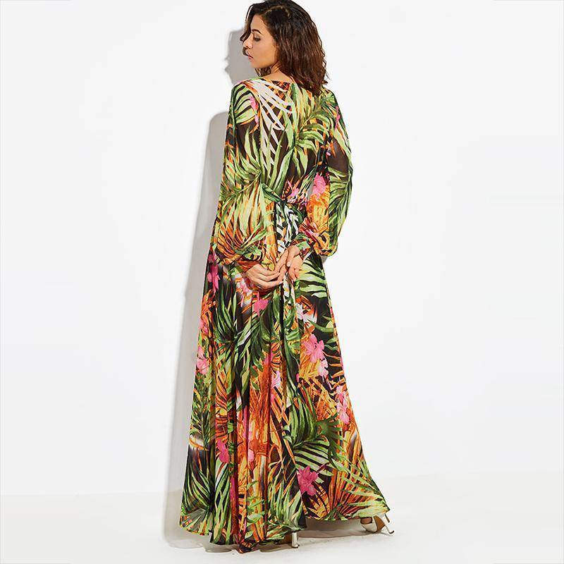 clothing Tropical, Bohemian, Summer bahamas Chiffon Maxi Dress Robe (US 6 -16)