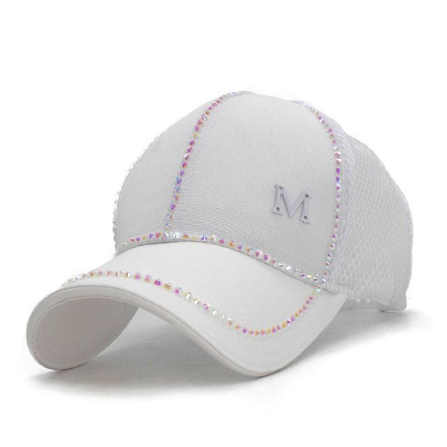 Clothing White / 56cm to 60cm Bling baseball Cap, Women Breathable, adjustable Cap, Glam jewel sparkle hat in Pink white