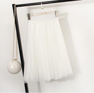 "clothing White Fits 22"" - 41"" wasit - Three Layers, Tulle Elastic High waist Midi Skirt"