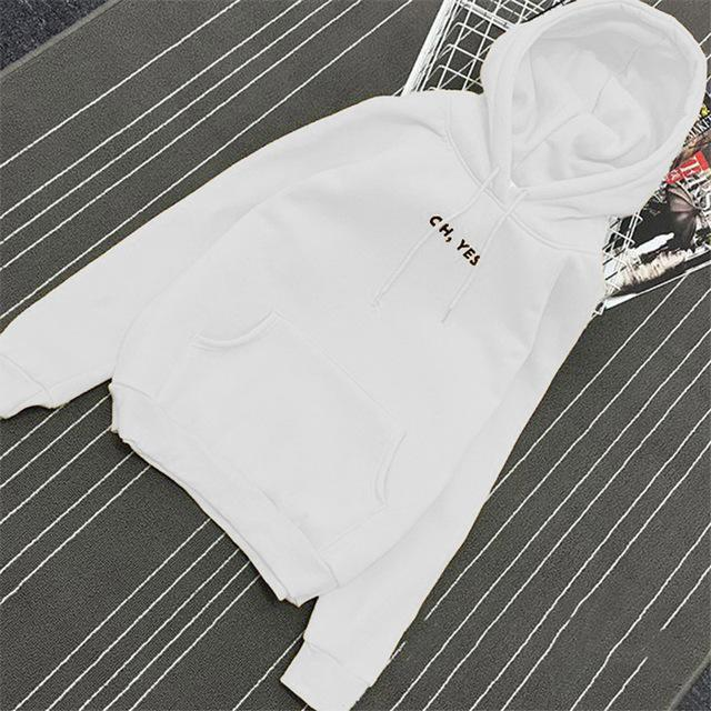 Clothing White / M (US 12-14) Fsdhion Autumn Winter Fleece Oh Yes Letter Harajuku Print Pullover Thick Loose Women Hoodies Sweatshirts Female Casual Coat (US 12-18W)