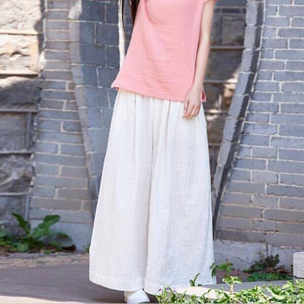 Clothing White / M (US 2) Loose Wide  Elastic Waist Cotton linen Trousers (US 2-18W)
