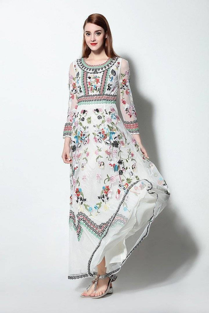 Clothing White / M (US 6-8) Runway Designer, Long Gauze Floral Embroidery Dress (US 4-16)