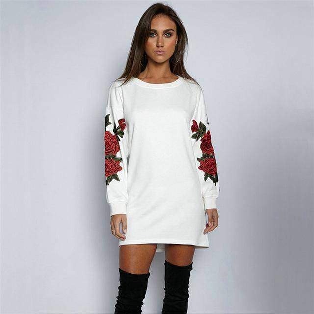 clothing white / S Plus Size Rose floral Embroidery Long Sleeve Pullovers Sweatshirt Hoodies S-5XL