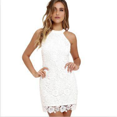 Clothing White / S (US 2-4) Womens Elegant Wedding Party Sexy Night Club Halter Neck Sleeveless Sheath Bodycon Lace Dress Short (US 2-16)