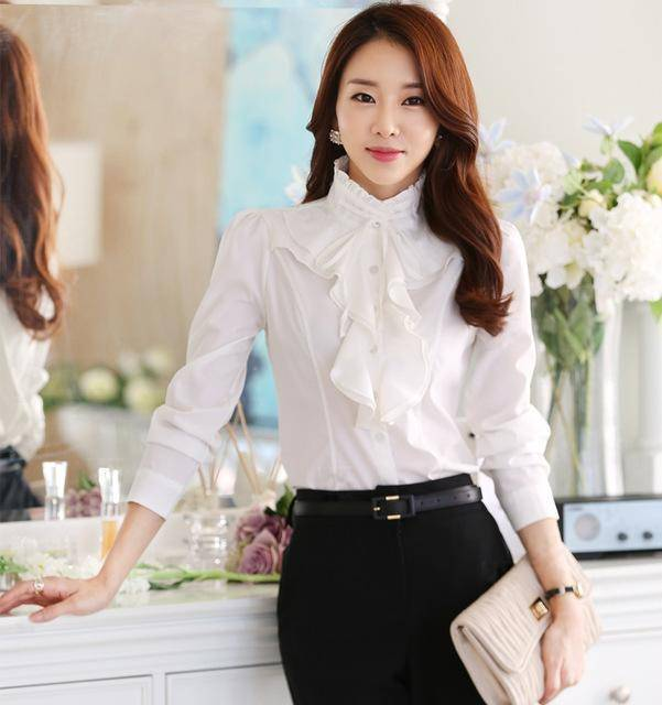 Clothing White / S (US 2) Chiffon Ruffles Shirts  (US 2-18W)