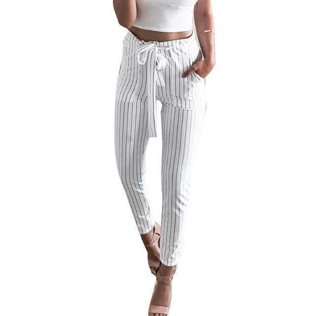 Clothing White / S (US 2) Striped Strechy Elastic High Waist Harem Pants Women Bowtie Belt Slim Long Trousers Women's Casual Capris With Pockets (US 2-16)
