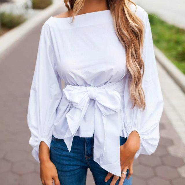 clothing White / S (US 4-6) Chiffon Wrap Blouse Women Shirts  Lantern Long Sleeve (US 4-12)