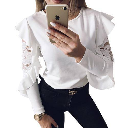Clothing White / S (US 4-6) Ruffle Lace Blouse Shirt (US 4-14)