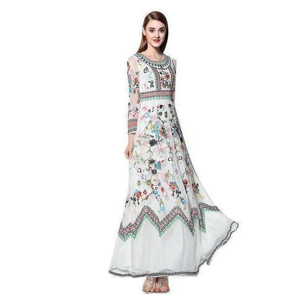 Clothing White / S (US 4-6) Runway Designer, Long Gauze Floral Embroidery Dress (US 4-16)