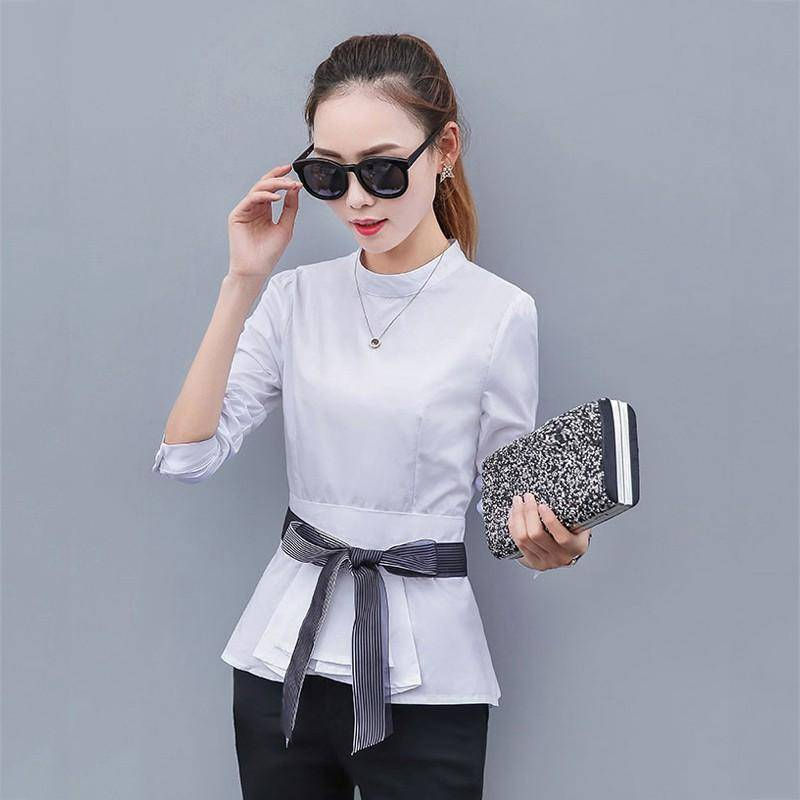 Clothing White / S (US 4 ) Peplum Striped Blouses with Bow Long Sleeve Shirts  (US 4-12)