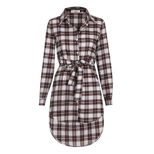 Clothing White / S (US 6-8) Plaid Shirt / Mini Dresses Women Clothes (US 6-16)