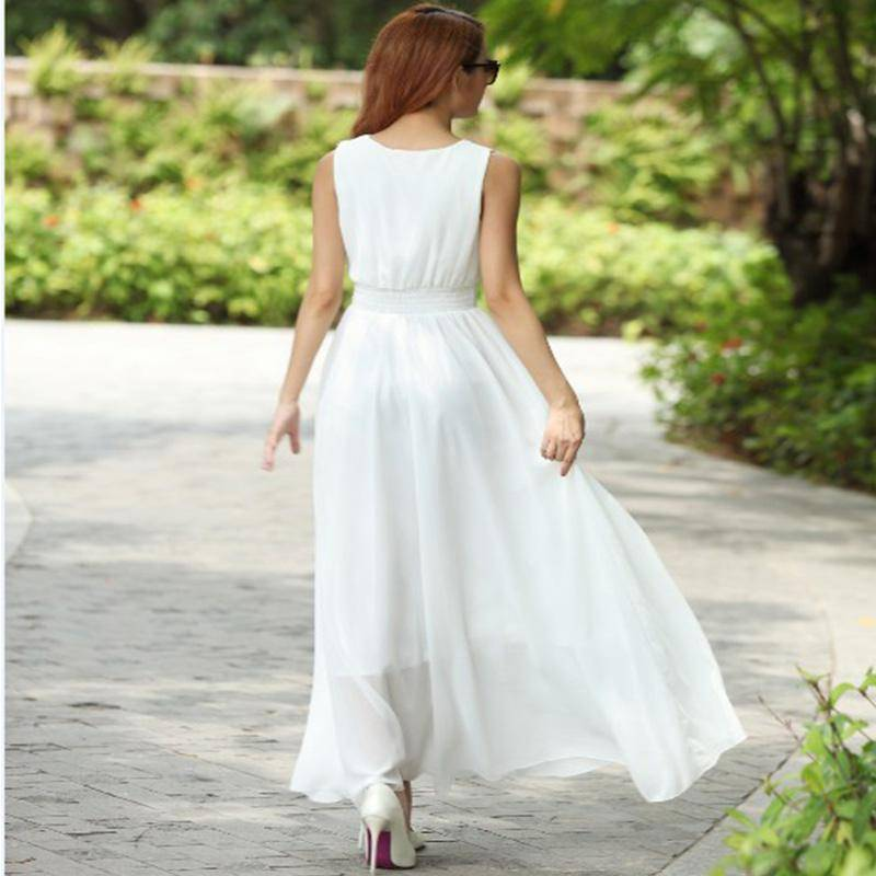 Clothing White / S (US 6) Bohemian Dress Slim Sleeveless Beach V-Neck 6 Color Cute Style (US 6-12)