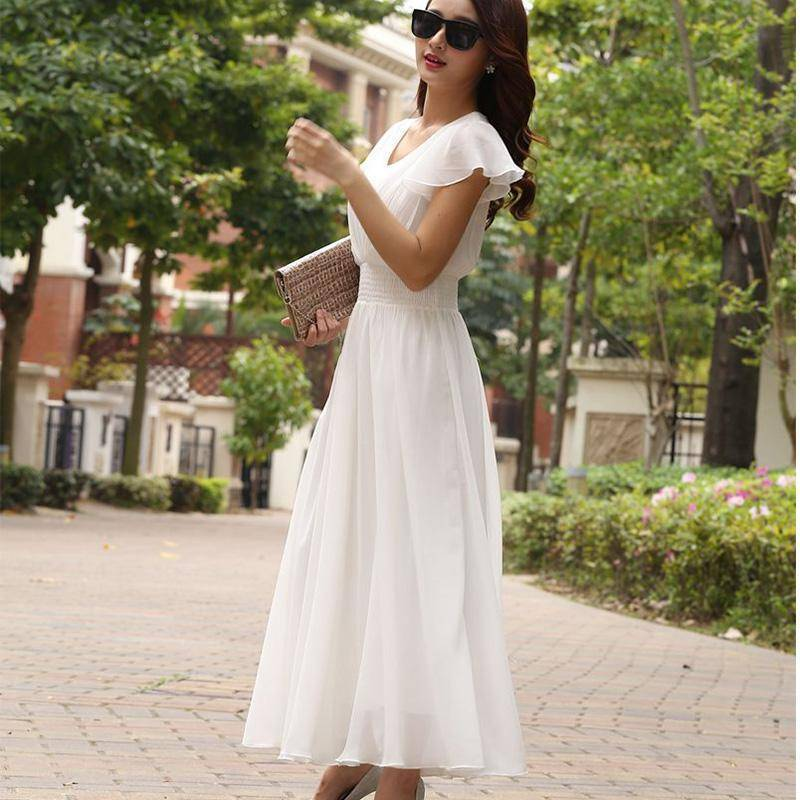 Clothing White / S (US 6) Chiffon Solid Bohemian Dress Maxi dresses V-Neck Causal  (US 6-12)