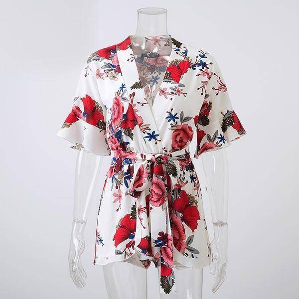 Clothing White / S (US 8-10) Boho Floral Print Ruffles Playsuits V Neck Jumpsuits Rompers  (US 8-14)