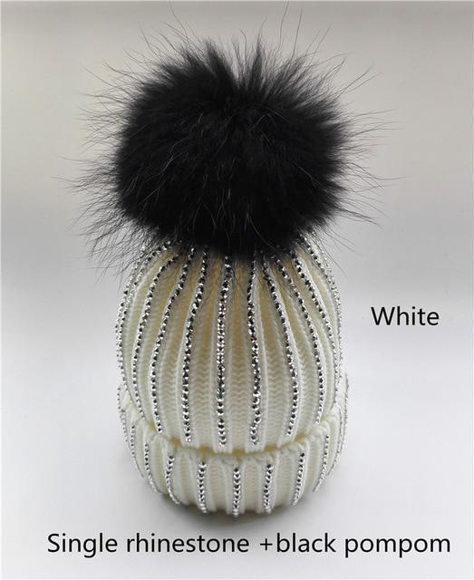 Clothing white with black pom Removable Winter Warm Fur Pom pom Knitted bling Hats,  Skullies Beanie With 15cm Fur Ball