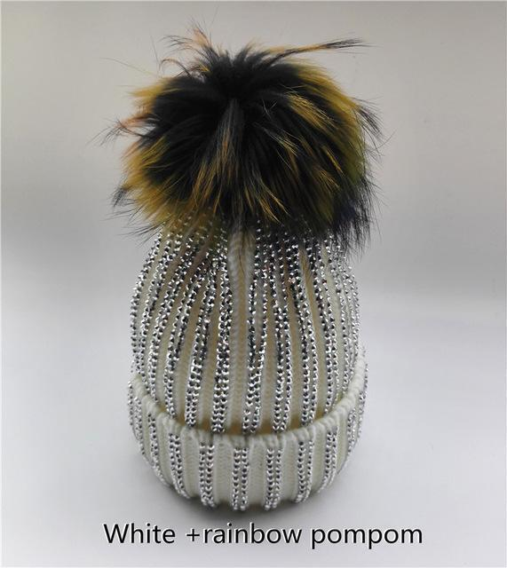 Clothing white with rainbow Removable Winter Warm Fur Pom pom Knitted bling Hats,  Skullies Beanie With 15cm Fur Ball