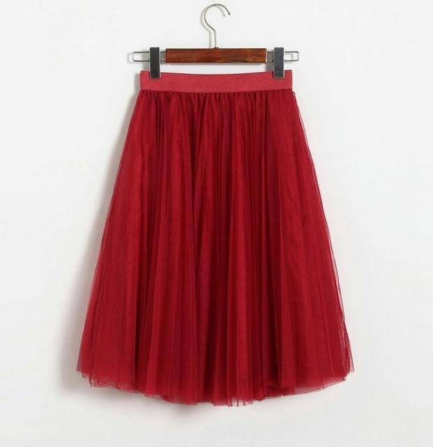 "clothing Wine Red Fits 22"" - 41"" wasit - Three Layers, Tulle Elastic High waist Midi Skirt"
