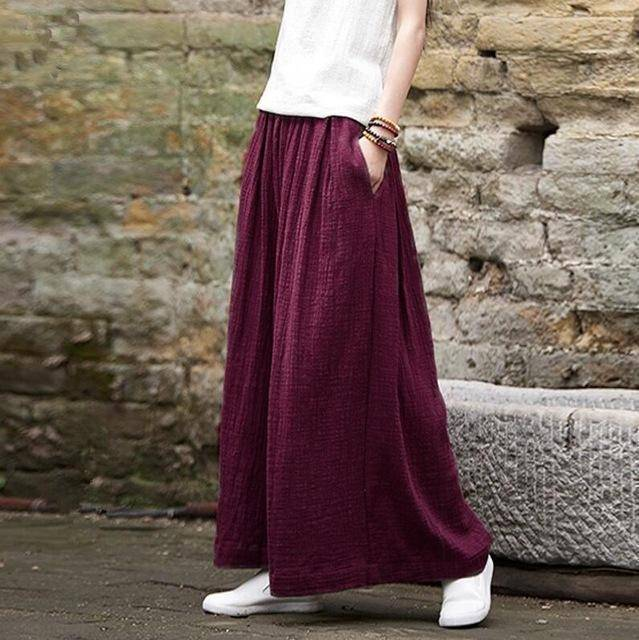 Clothing WINE RED / M (US 2) Loose Wide  Elastic Waist Cotton linen Trousers (US 2-18W)