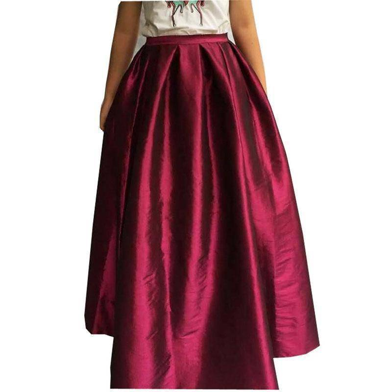 Clothing Wine red / M (US 8-10) Maxi Long Skirt Floor Length Ladies High Waisted Skirts  (US 4-20W)