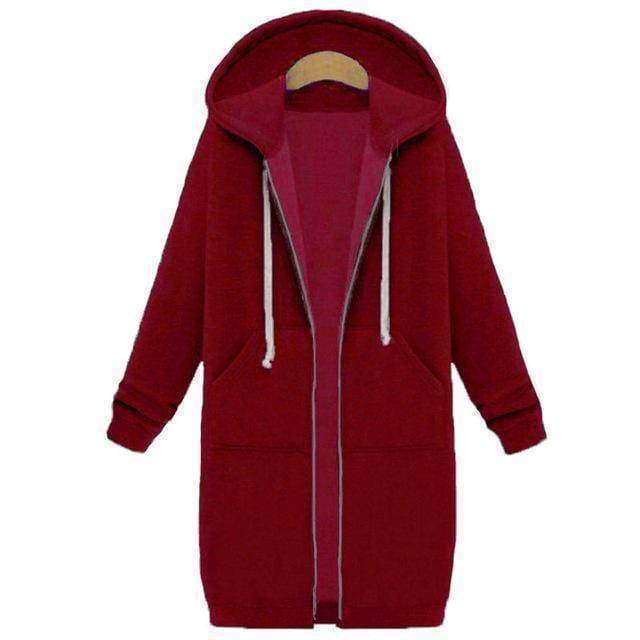 clothing Wine Red / S Oversized S-5XL Long Hoodies Coat with Pockets