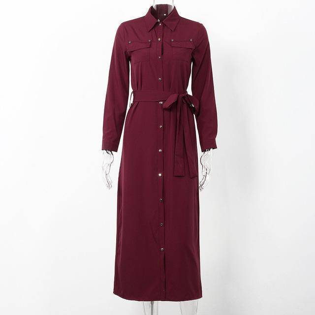 Clothing Wine red / S (US 10-12) Women Long Sleeve Maxi Dress Spring New Fashion Collar Buttons Long Shirt Dresses Open Slit Women Casual Dress Green Blue (US 10-18W)