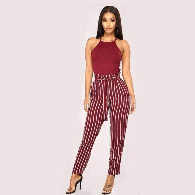 Clothing wine red / S (US 2) Striped Strechy Elastic High Waist Harem Pants Women Bowtie Belt Slim Long Trousers Women's Casual Capris With Pockets (US 2-16)