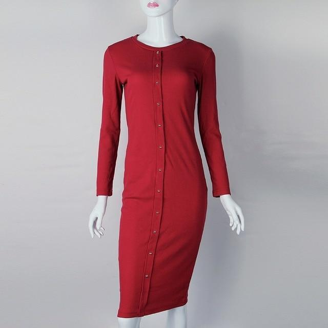 Clothing wine red / S (US 4-6) Knitting Autumn Winter Dress Warm Women Knitted Dress Mid-calf Package Hip Sheath Bodycon Dress Elegant Office Pin Up LX062 (US 4-14)