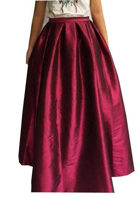 Clothing Wine red / S (US 4-6) Maxi Long Skirt Floor Length Ladies High Waisted Skirts  (US 4-20W)