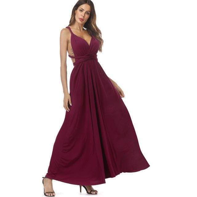 Clothing Wine Red / S (US 8-10) Plus Size - Infinity Convertible Wonder Dress,  20 Colors Summer Maxi Party Dresses Multiway Swing Dress  Wrap Dress (US 8 - 18 W)