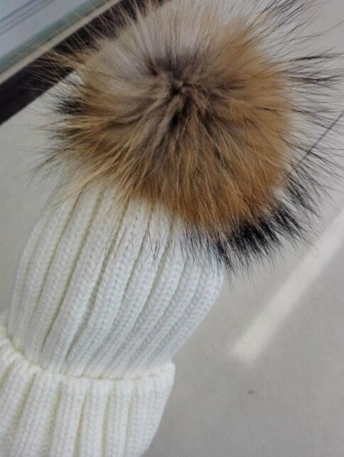 Clothing without rhinestone Removable Winter Warm Fur Pom pom Knitted bling Hats,  Skullies Beanie With 15cm Fur Ball