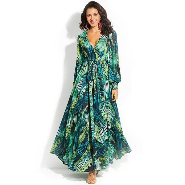 Clothing Women Bohemian, Boho chic, Maxi Floral V-Neck long dress in tropical bahamas Print