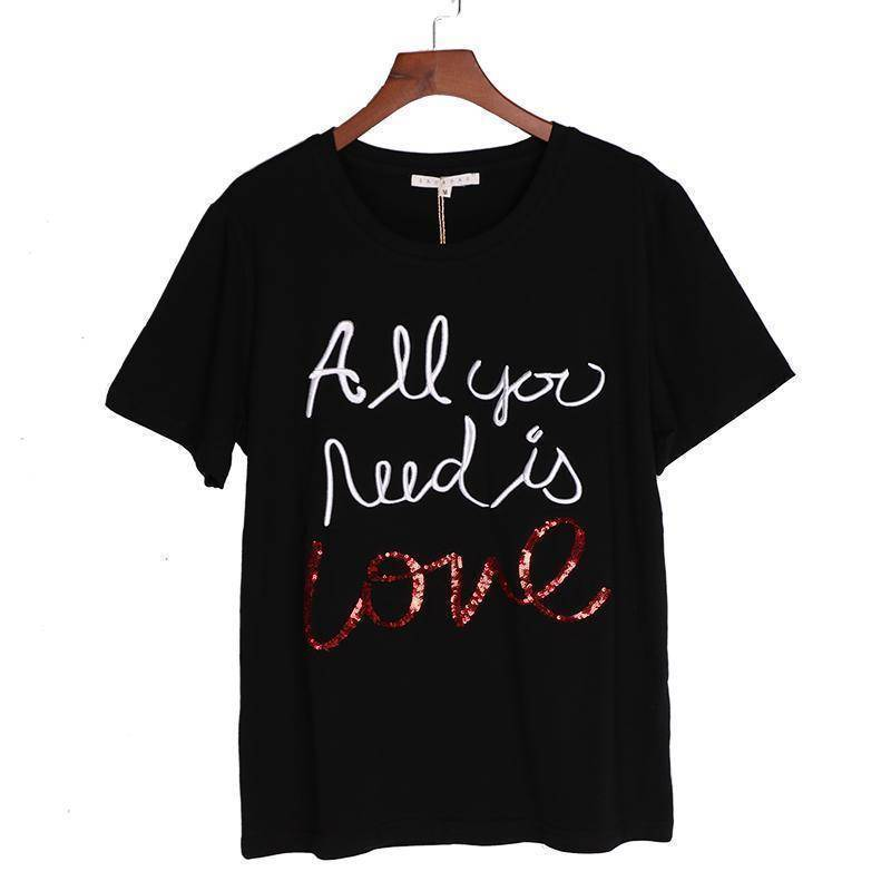 "Clothing Women Sequin Embroidery Tops Tees Cotton T-shirt - ""All you need is love""    (US 6-12)"