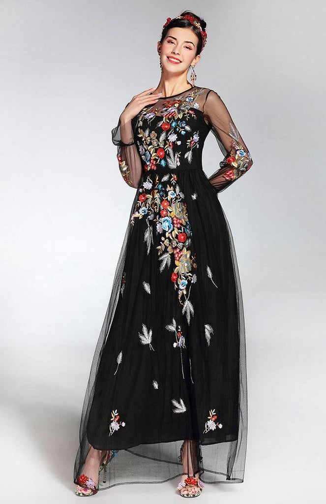 Clothing XL (US 10-12) Runway Tulle Gauze Sleeves, with Floral Embroider Vintage Long Dress (US 4-16)