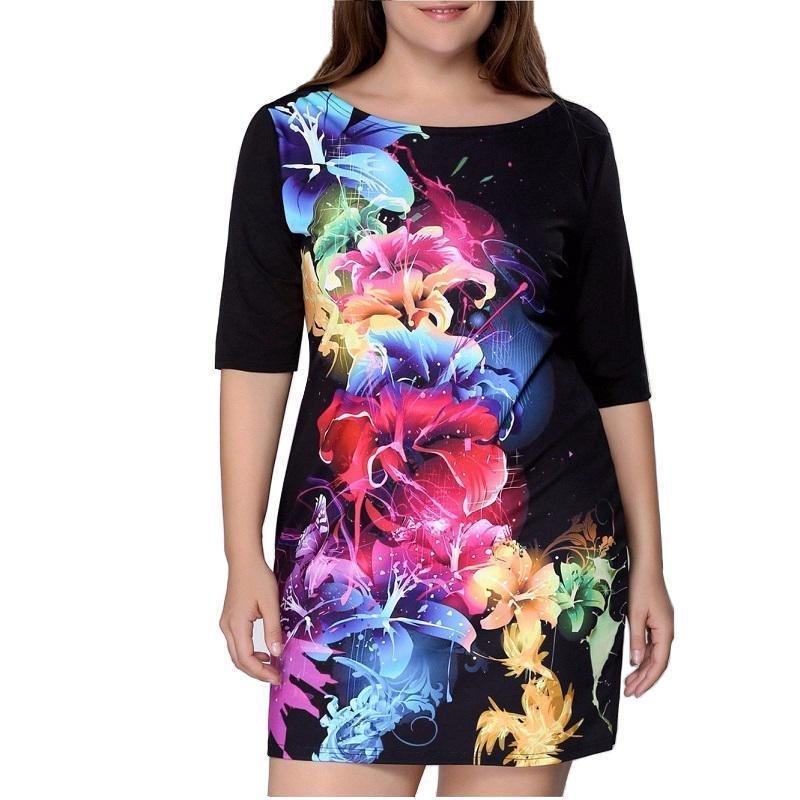 Clothing XL (US 12-14) Plus Size - Women Clothing Summer Dress Big Size 6XL Women Dress Print 5XL Dress Black Casual Mini 4XL Party Dresses Vestidos ( US 12-22W)
