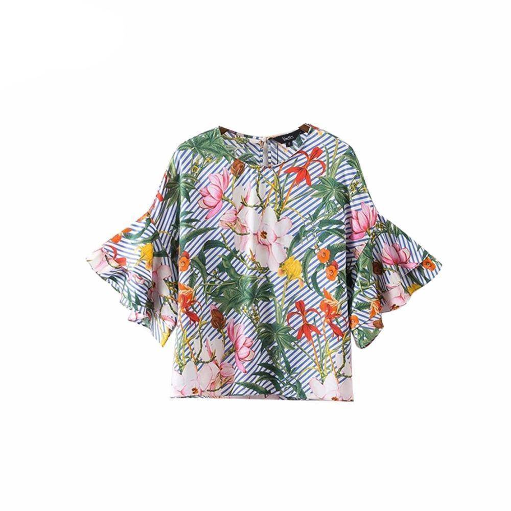 Clothing XS (US 14) Plus Size - Sweet ruffles loose floral shirts flower print tops (US 14-18W)