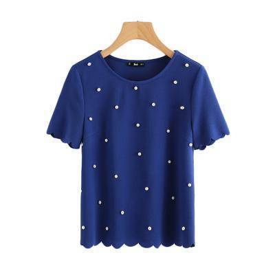 Clothing XS (US 6-8) Scallop Trim Pearl Embellished Women Blouse Royal Blue Shirt Short Sleeve Cute Tops Elegant Ladies Blouse (US 6-16)