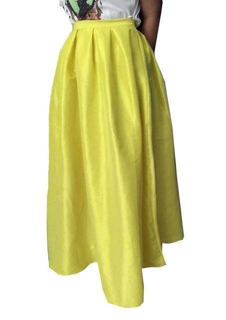 Clothing Yellow / 4XL (US 16W-18W) Maxi Long Skirt Floor Length Ladies High Waisted Skirts  (US 4-20W)