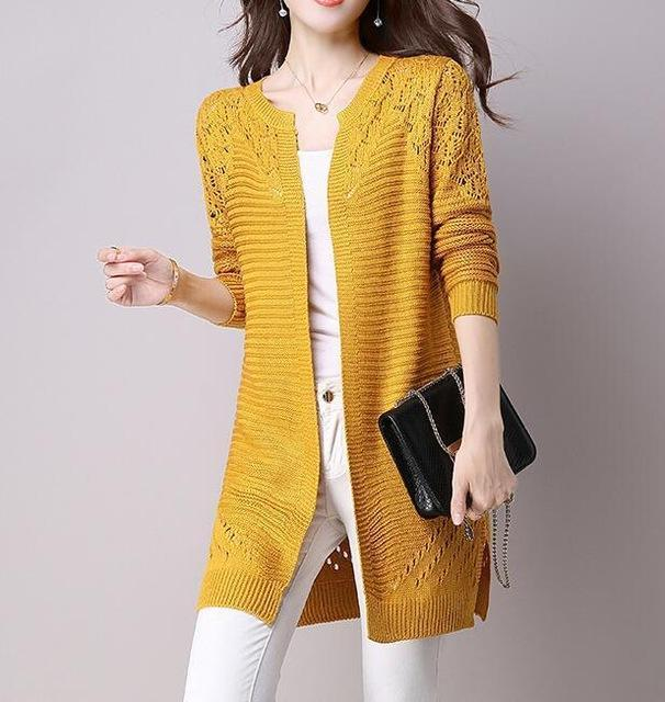 Clothing Yellow / M (US 2-4) Fall Women Cardigan Solid Color Hollow Out Sweaters Size S-XXL Poncho Full Sleeve Open Stitch Female Knitted Outerwear (US 2-12)