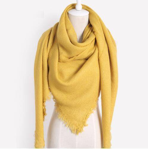 clothing yellow Oversize Solid Color Winter Square Scarf, XL Women Blankets,  Luxury Shawl 140cm x 140cm