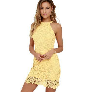 Clothing Yellow / S (US 2-4) Womens Elegant Wedding Party Sexy Night Club Halter Neck Sleeveless Sheath Bodycon Lace Dress Short (US 2-16)