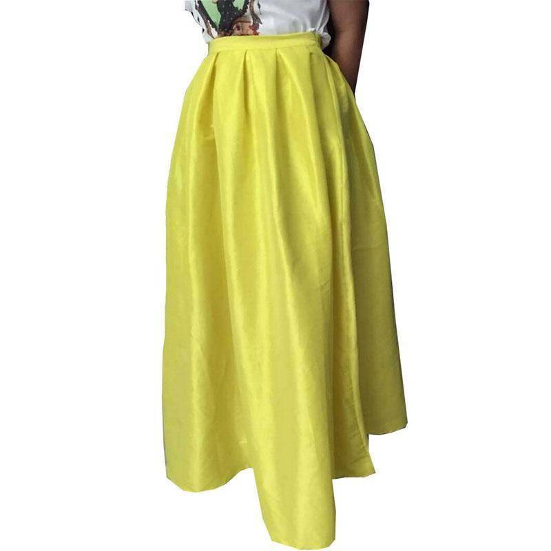 Clothing Yellow / S (US 4-6) Maxi Long Skirt Floor Length Ladies High Waisted Skirts  (US 4-20W)