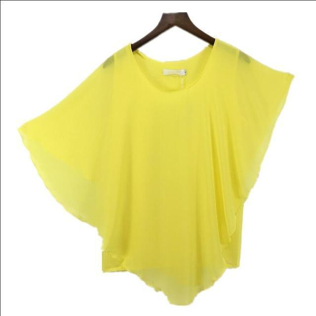 Clothing Yellow / S (US 6-8) Plus Size - 16 Color Plus size Ladies Chiffon Blouses ,Batwing sleeve tops shirts women asymmetric shirts (US 6-24W)