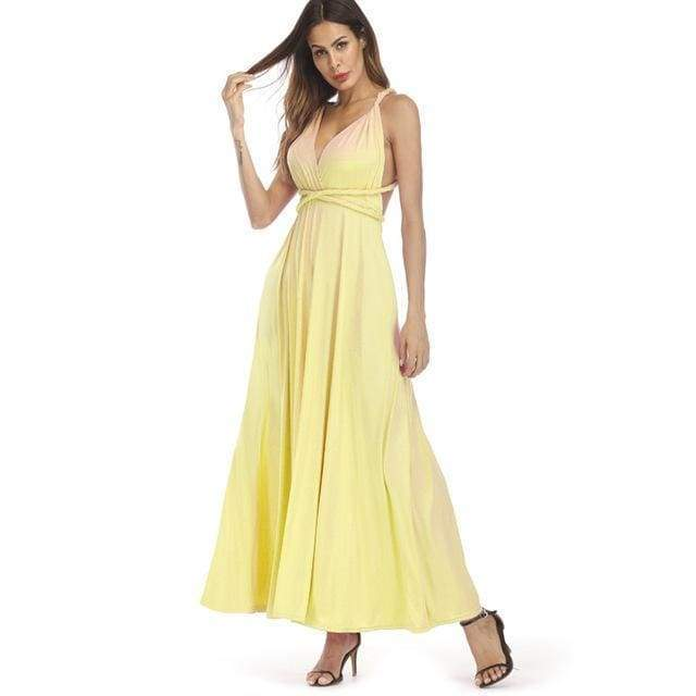Clothing Yellow / S (US 8-10) Plus Size - Infinity Convertible Wonder Dress,  20 Colors Summer Maxi Party Dresses Multiway Swing Dress  Wrap Dress (US 8 - 18 W)
