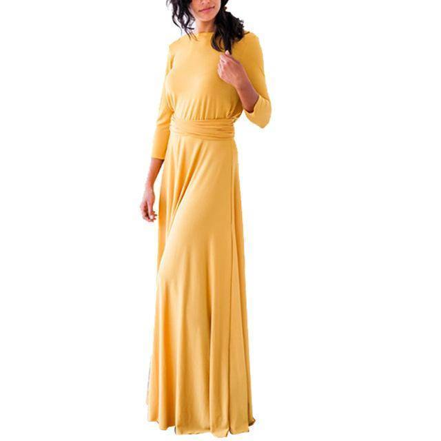 clothing Yellow / US 2 - 4 The Wonder Dress - Long Sleeve Design, Multi way, infinity convertible dreses,  Petite Sizes (US 2- 10)