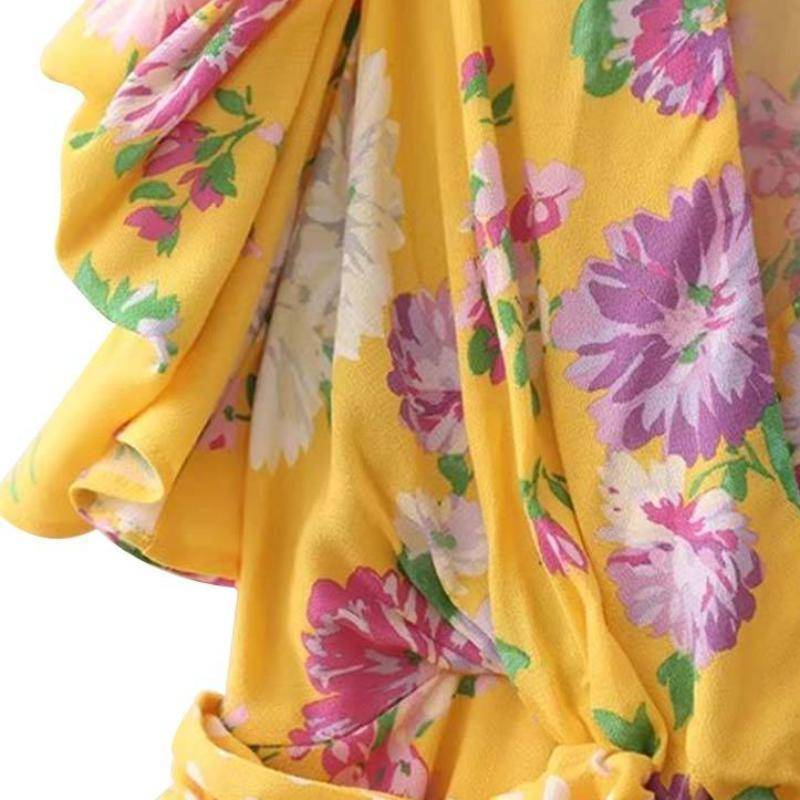 Clothing Yellow V neck floral shirt bow tie dot belt pleated short sleeve blouse (US 2-6)