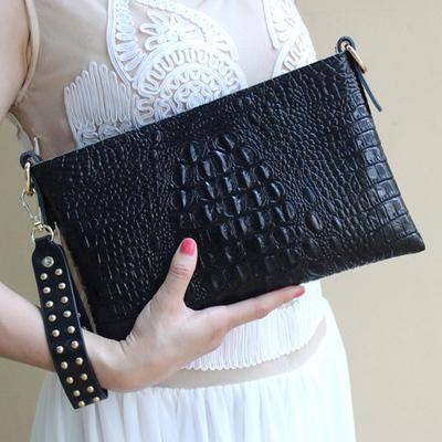 Clutches Black Genuine cow Leather Clutch bag, Crocodile texture Rivet purse also in Metallic Gold, white