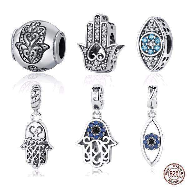 dangle & drops 925 Sterling Silver Beads Blue Eyes Fatima Hamsa Hand Charm Beads fit Original PAN Charm Bracelet