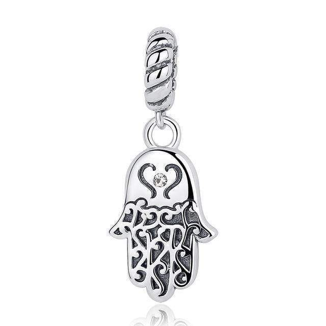 dangle & drops GXC031 925 Sterling Silver Beads Blue Eyes Fatima Hamsa Hand Charm Beads fit Original PAN Charm Bracelet