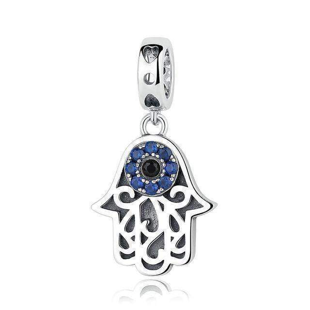 dangle & drops GXC085 925 Sterling Silver Beads Blue Eyes Fatima Hamsa Hand Charm Beads fit Original PAN Charm Bracelet