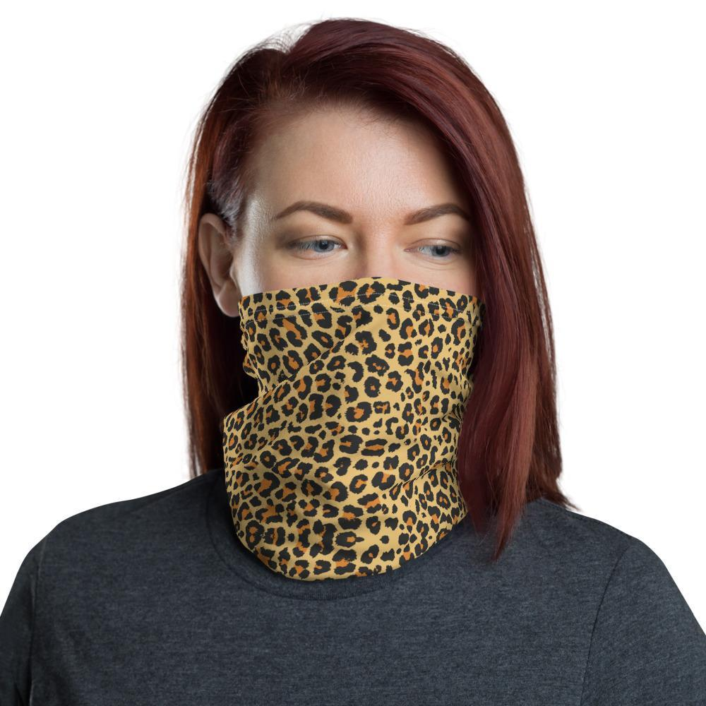 Double layered Cotton, Washable, reusable, Leopard print Neck Gaiter, can be personalised!